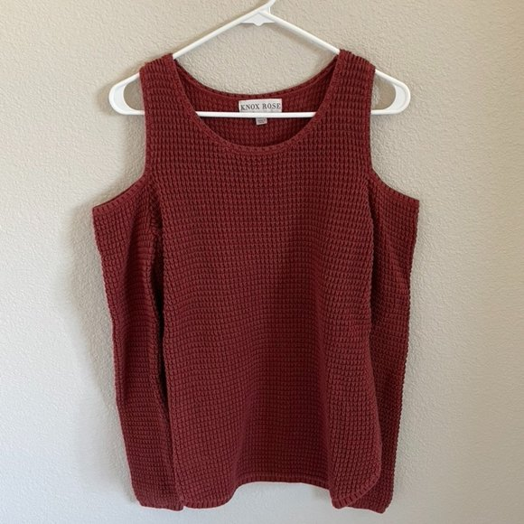 Knox Rose cold shoulder sweater, XS, rust